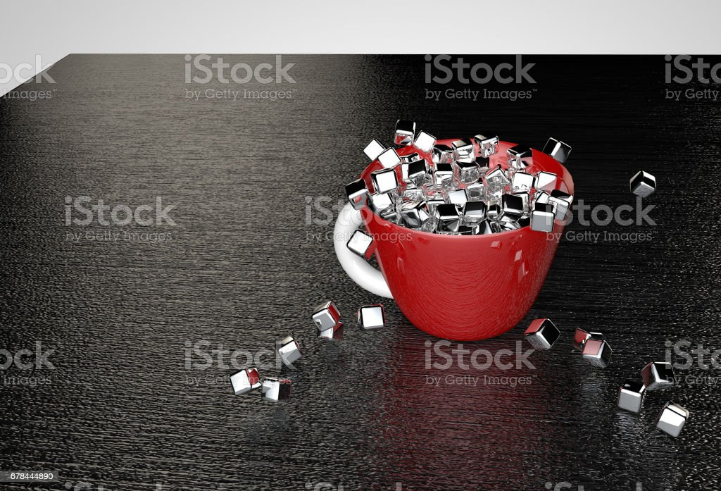 Metal cubes fill a red cup on a black textured table 3D illustration vector art illustration