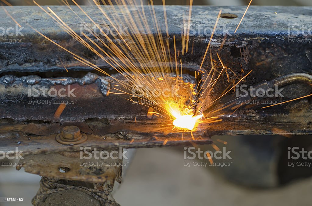 metal cutting with acetylene torch royalty-free stock photo