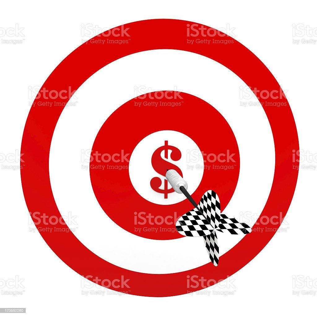 3D Metal Dart in Center of Dollar Target stock photo