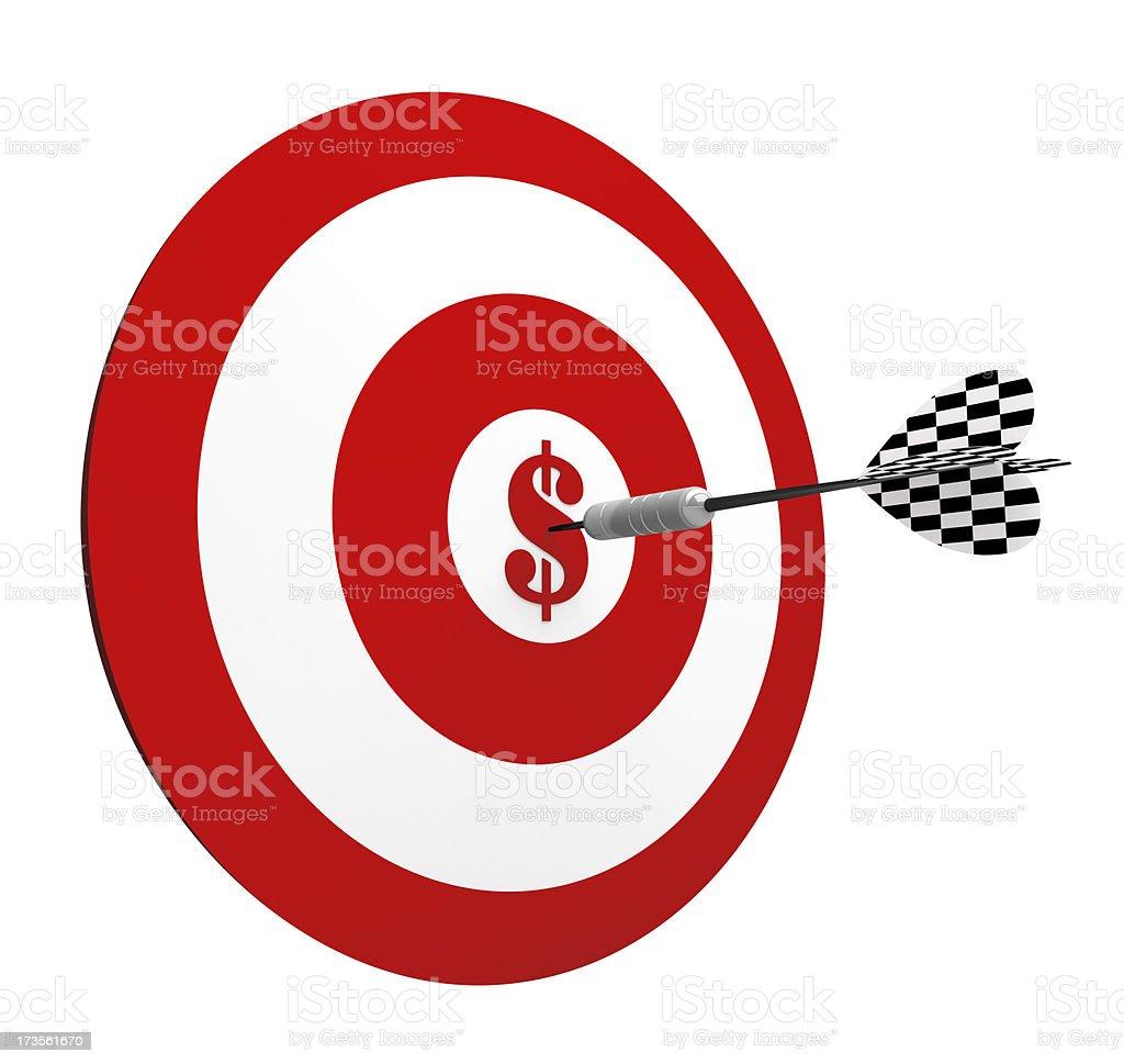 3D Metal Dart in Center Target of Dollar royalty-free stock photo