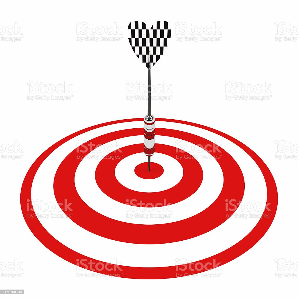 Metal Dart in conter of target royalty-free stock photo