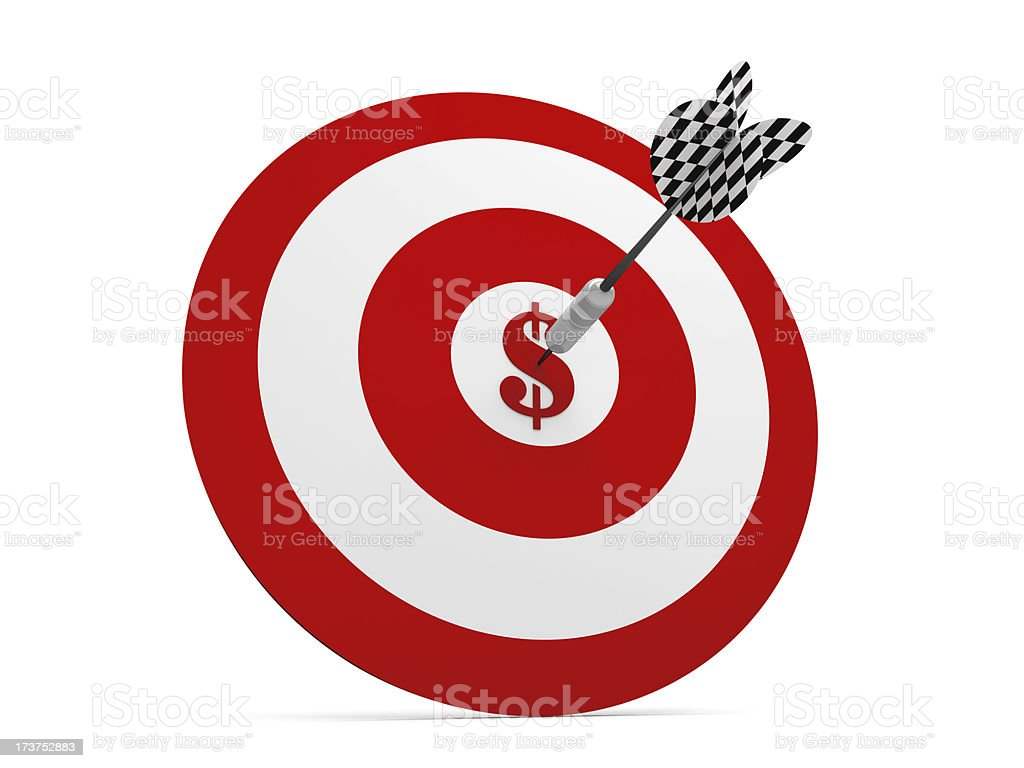3D Metal Dart in Middle Target of Dollar royalty-free stock photo