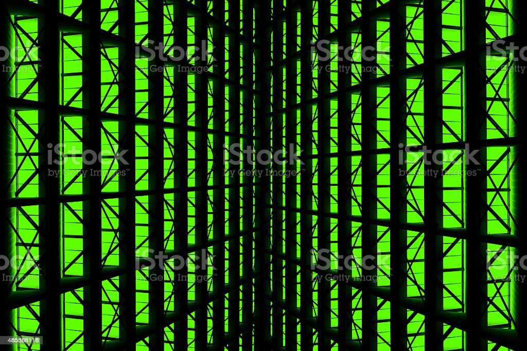 Metal design of an interior in a modern building stock photo