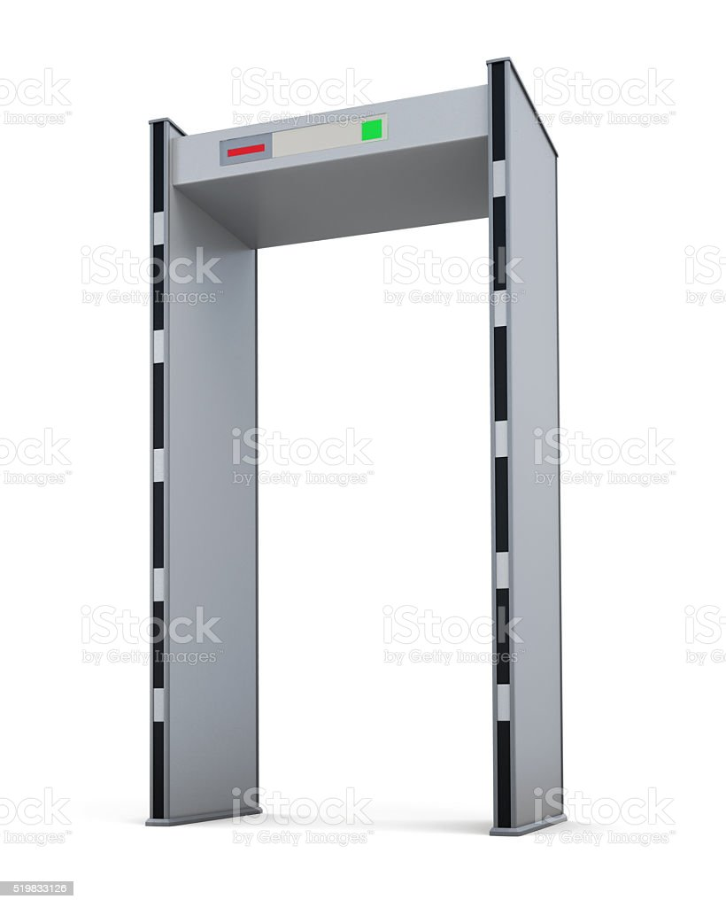 Metal detector door isolated on white background. 3d rendering stock photo