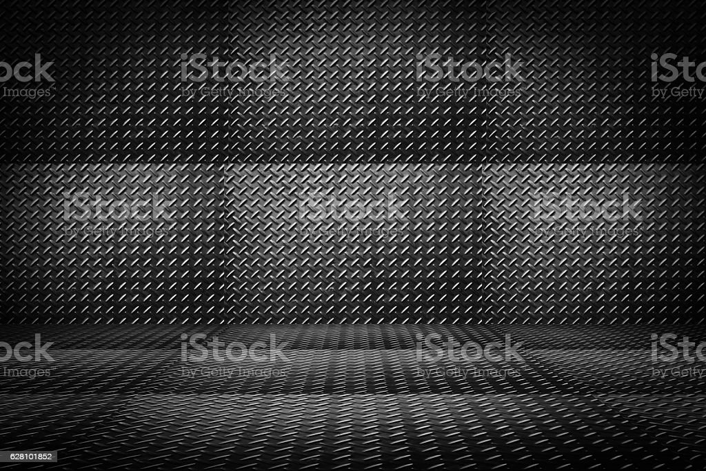 Metal diamond plate or old checkered steel plate. stock photo