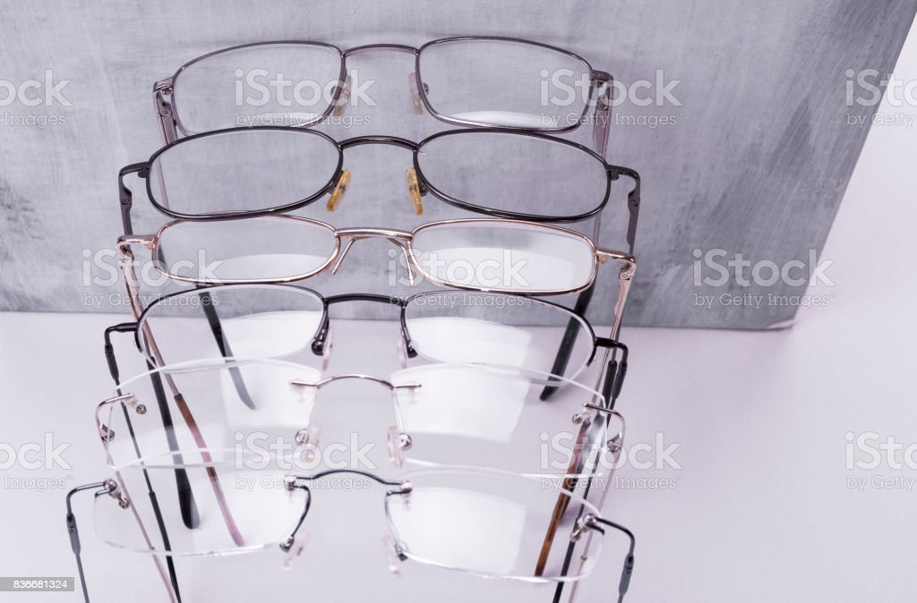 Metal dioptrical glasses unisex frame for men and women stock photo