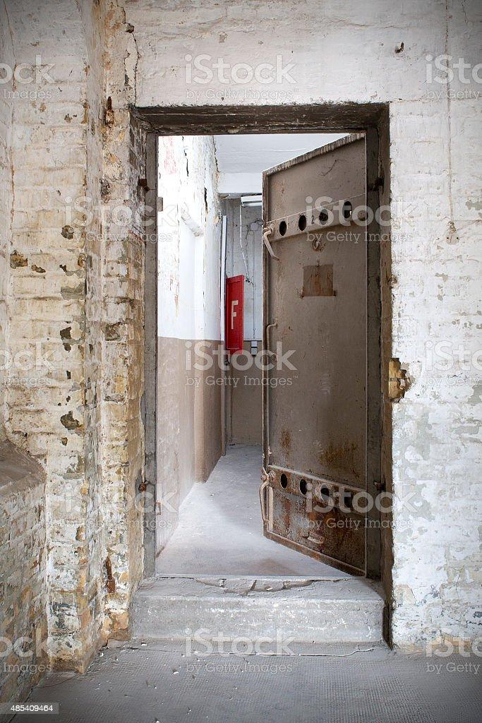 Metal door, bunker entrance - half open stock photo