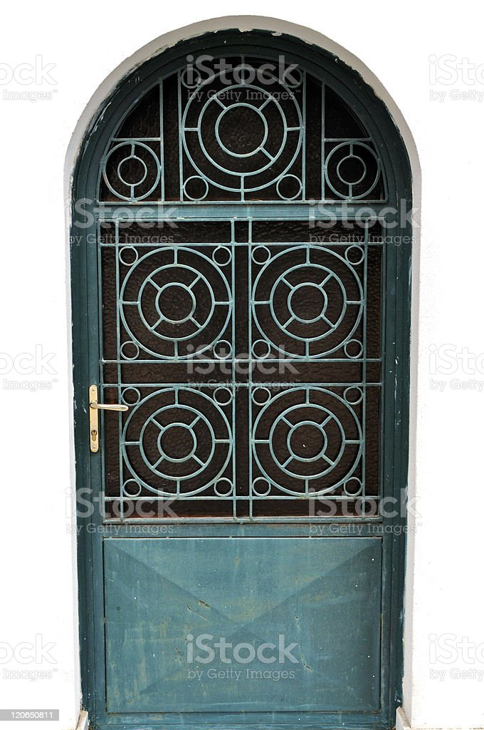 metal door with concentric circles motif royalty-free stock photo