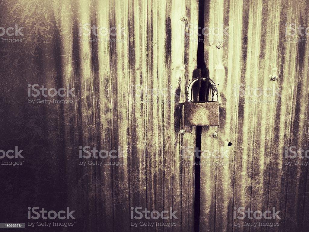 Metal door with lock stock photo