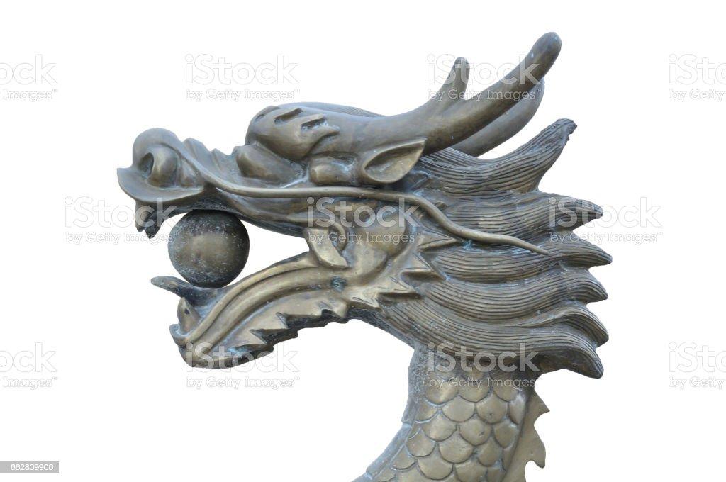 Metal dragon's head statue stock photo