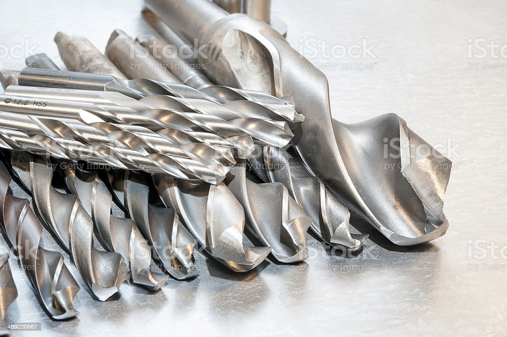 Metal drill bits. Drilling and milling industry. Closeup. royalty-free stock photo
