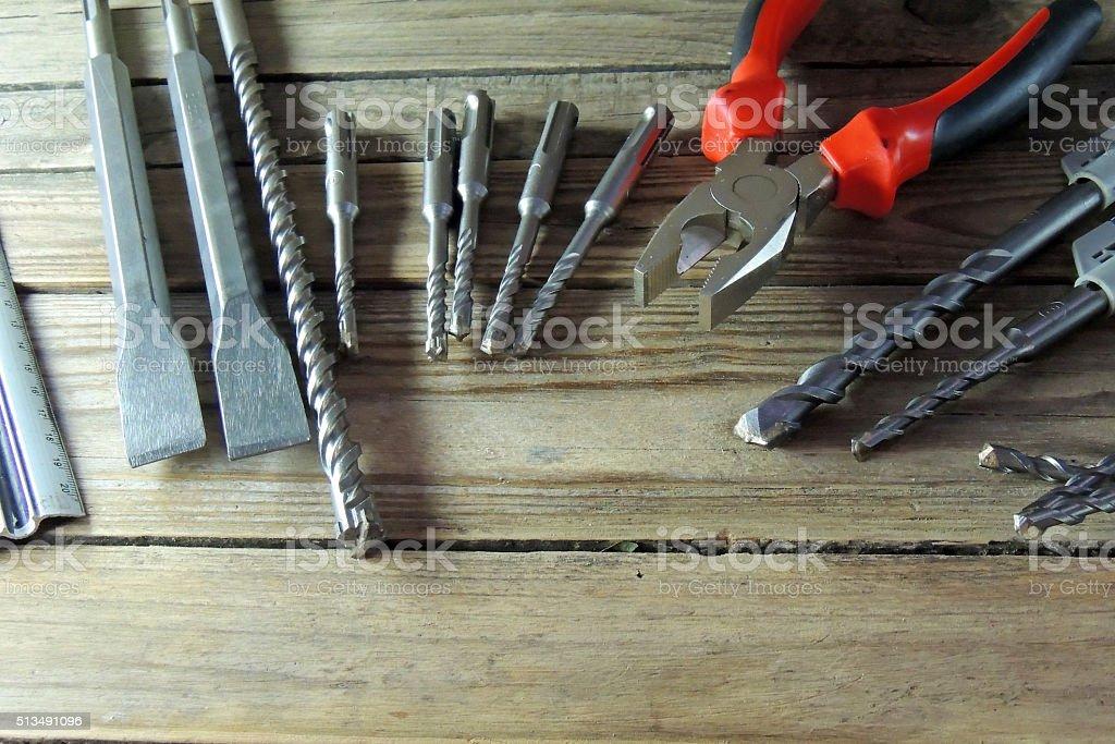 Metal drill bits stock photo