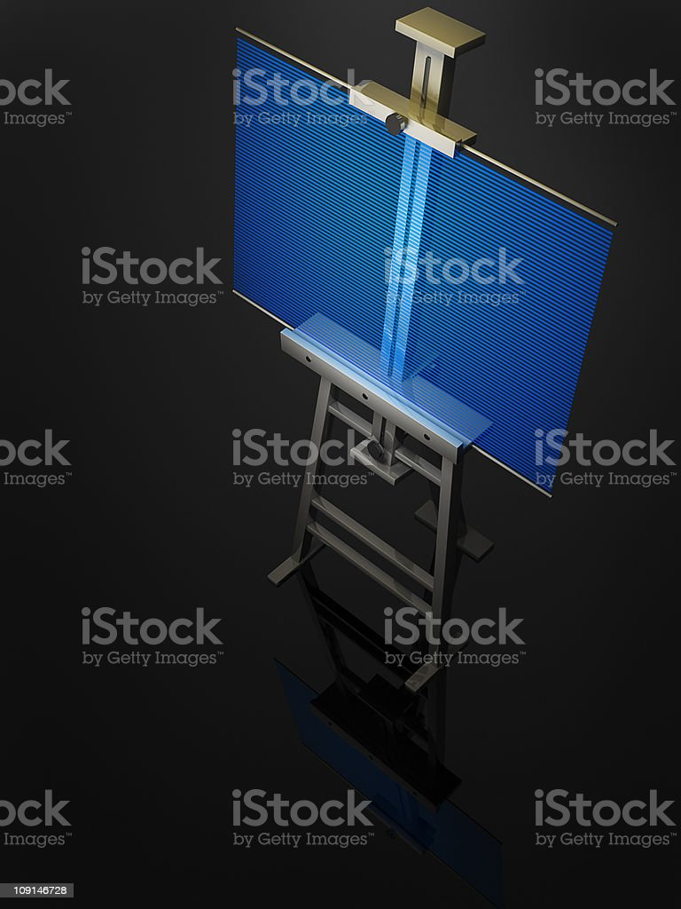 Metal easel with blue hologram isolated royalty-free stock photo