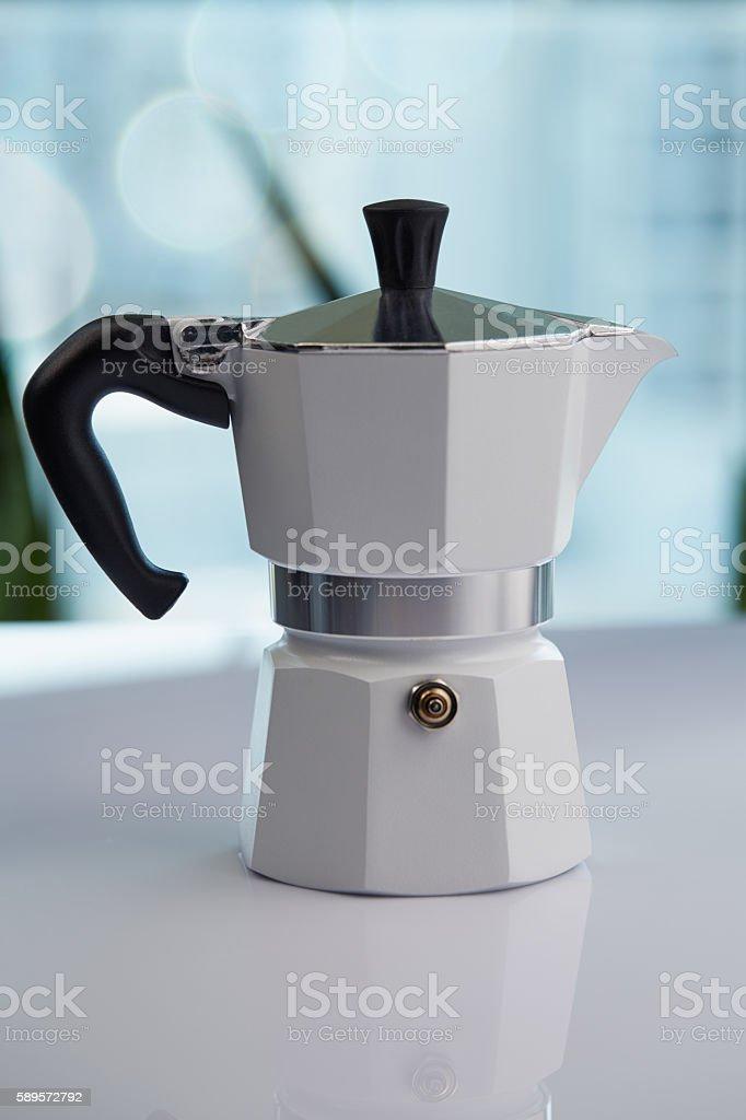 Metal espresso maker stock photo