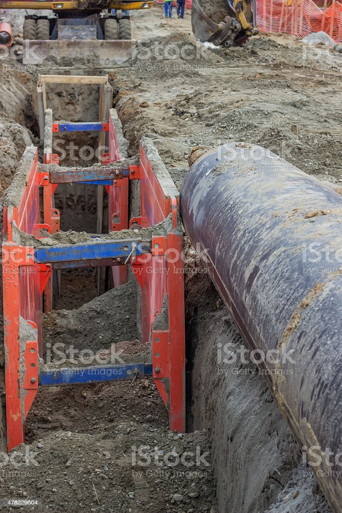 Metal excavation shoring, shoring supports stock photo