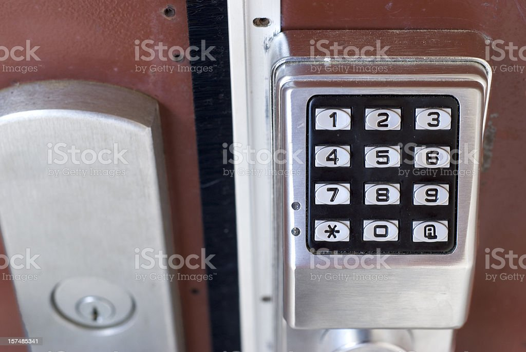 Metal Exterior Door With Electronic Touch Keypad Combination Lock stock photo