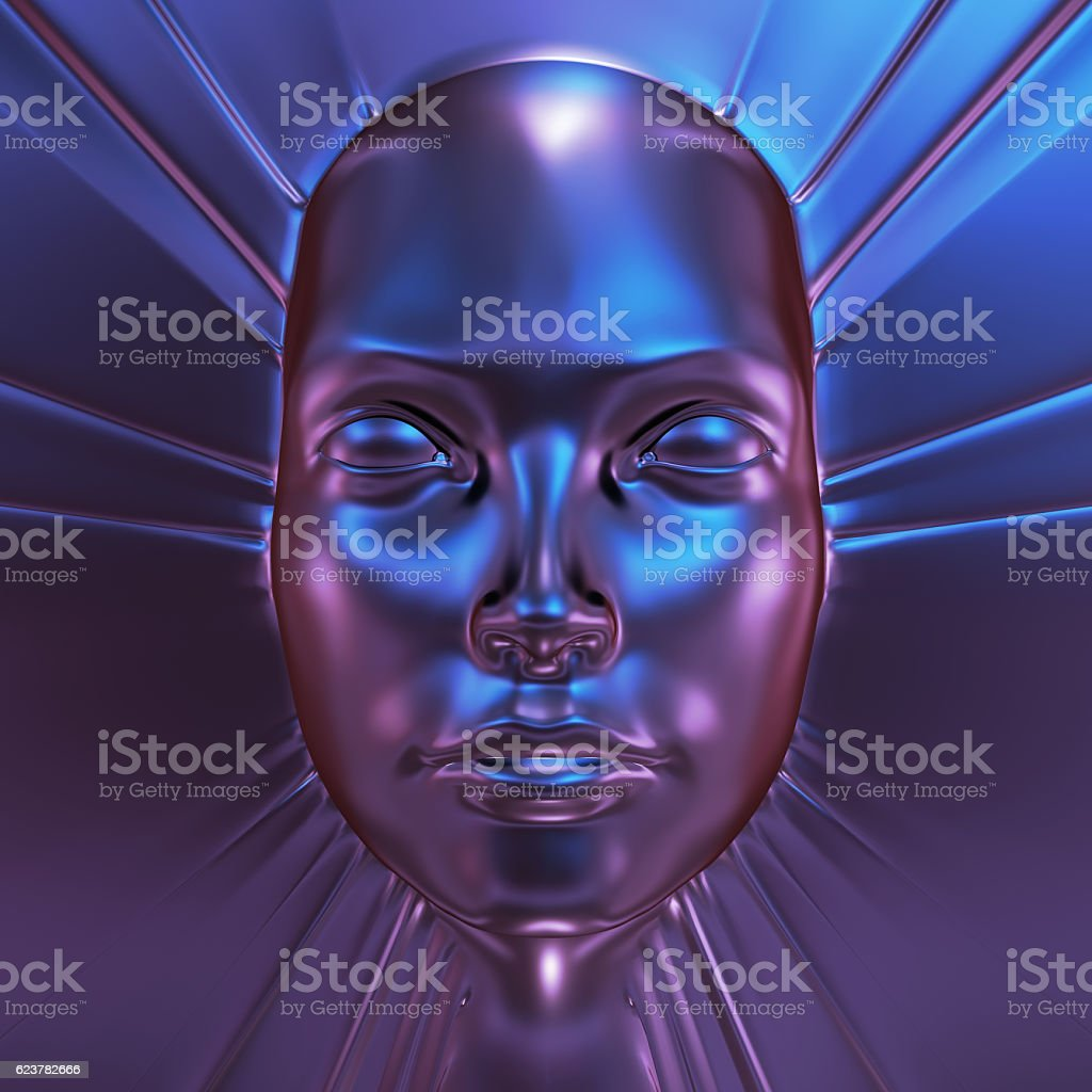 metal face 3d illustration stock photo