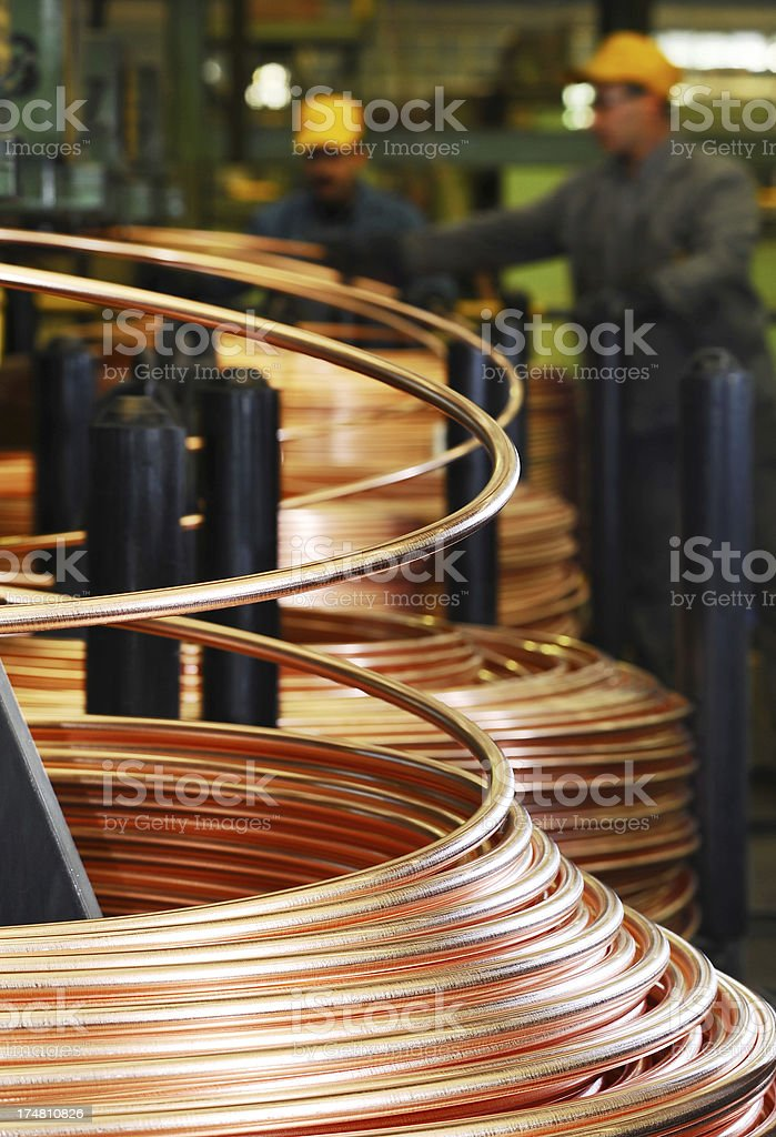 Metal factory and workers royalty-free stock photo