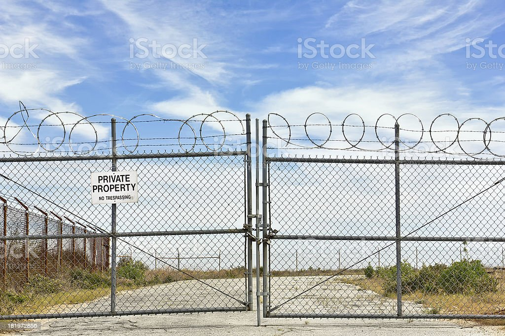 Metal Fence is Locked Closed stock photo