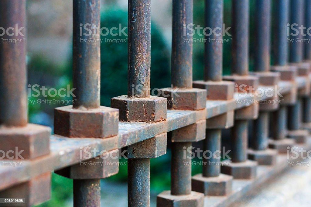 Metal fence stock photo