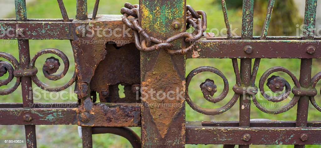 Metal fence with chain stock photo