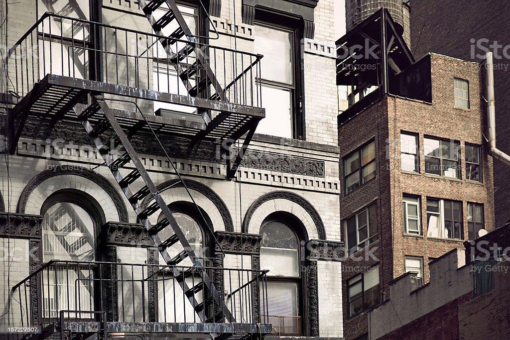 Metal fire escape stock photo