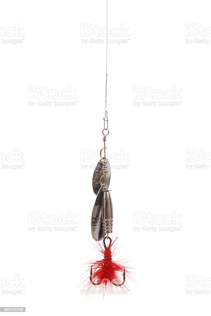 Metal fishing spoon stock photo