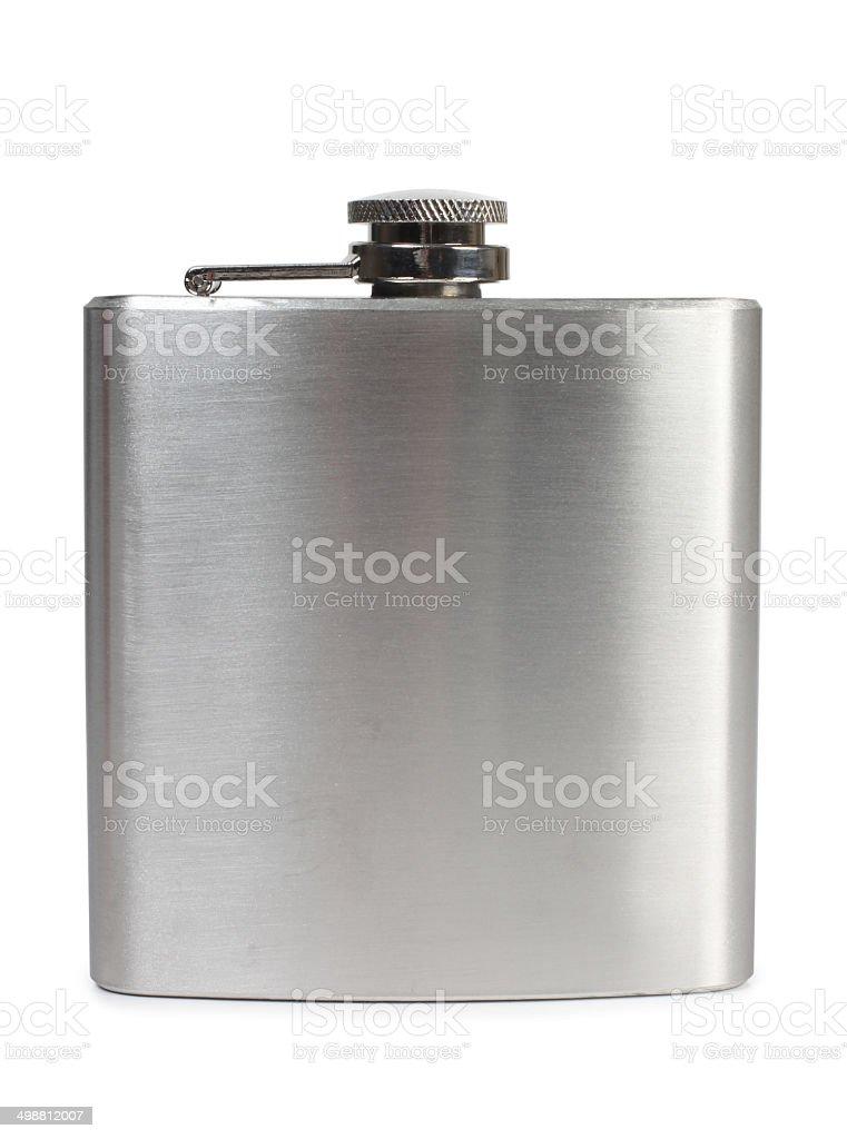 Metal flask stock photo