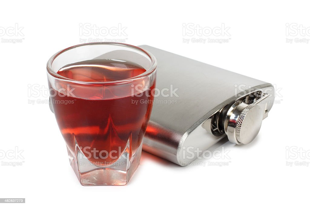 Metal flask whiskey royalty-free stock photo
