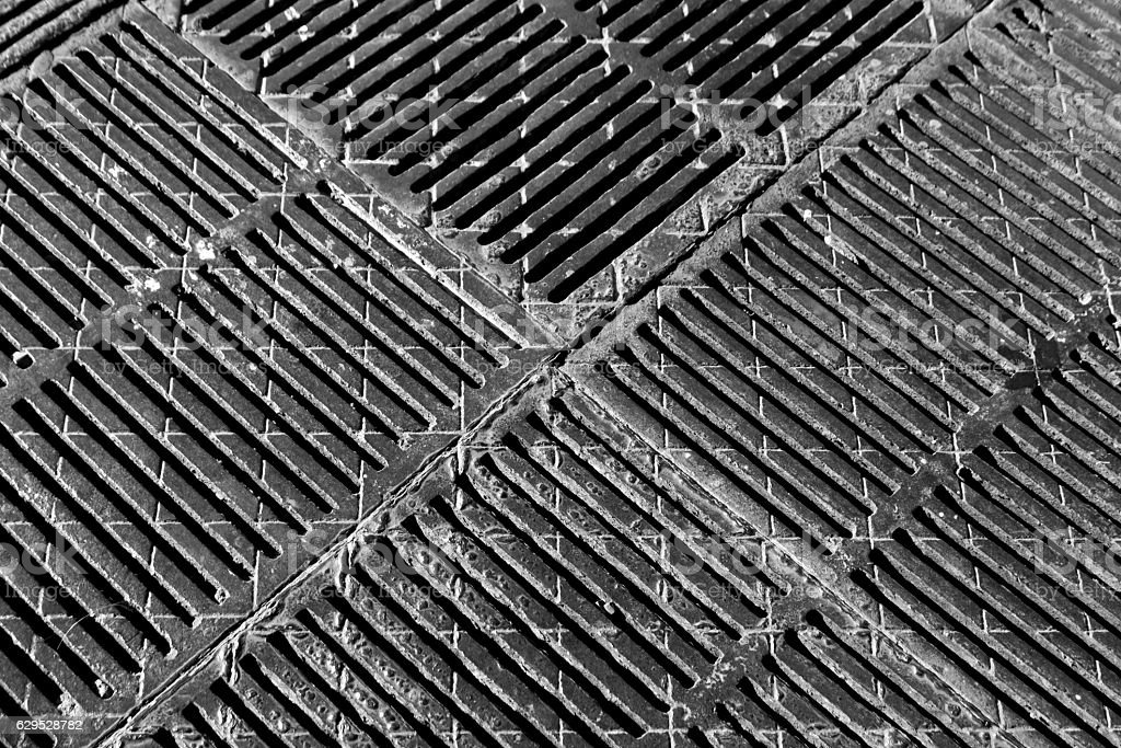 Metal floor texture in black and white stock photo