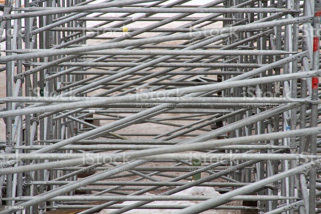 metal foldable tribune skeleton stock photo