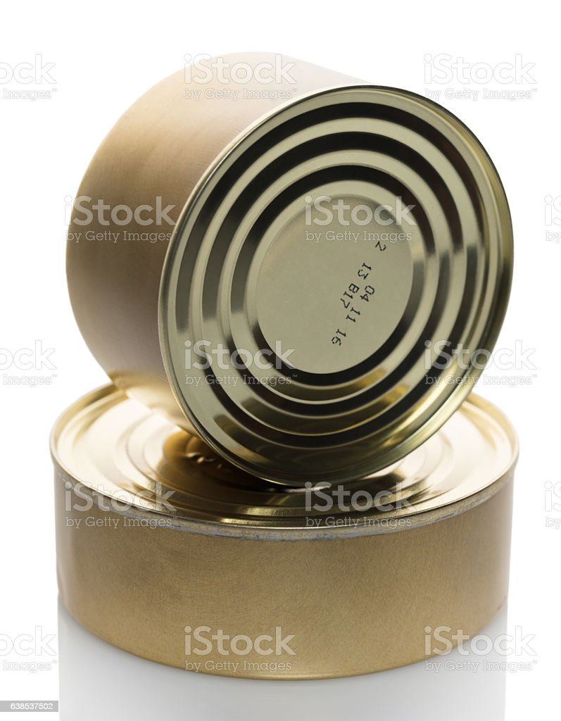 metal food cans stock photo