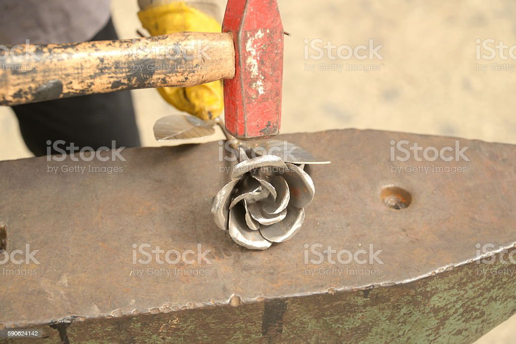 metal forged roses stock photo