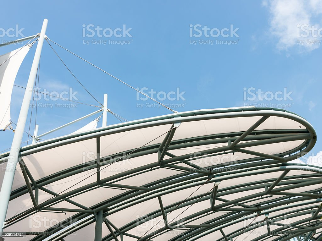 Metal frame of the canvas canopy stock photo