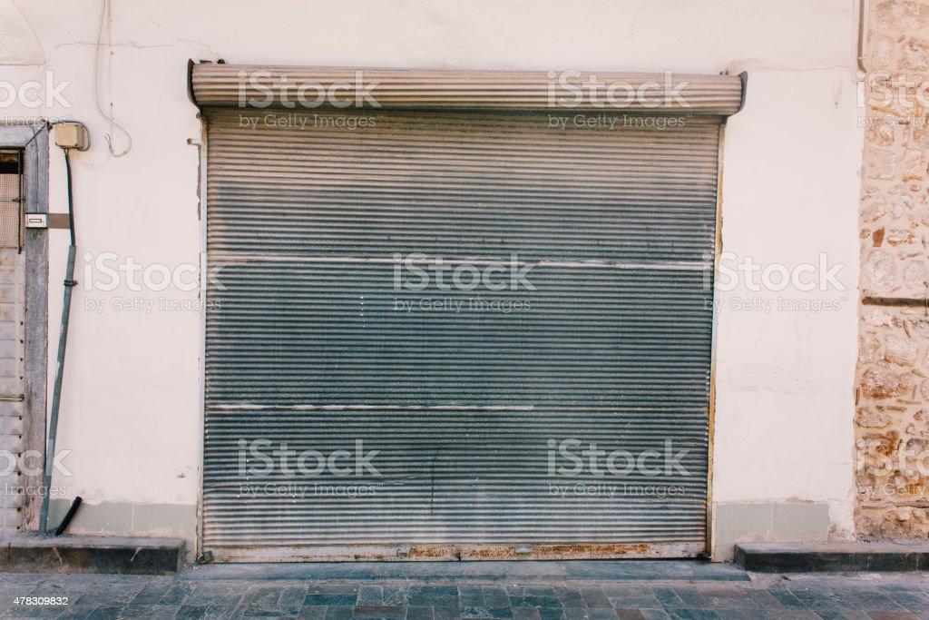 metal garage door, architecture of building exterior stock photo