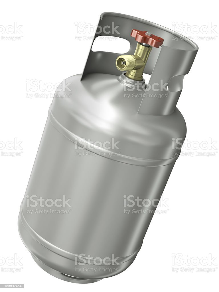 Metal gas container on a white background stock photo