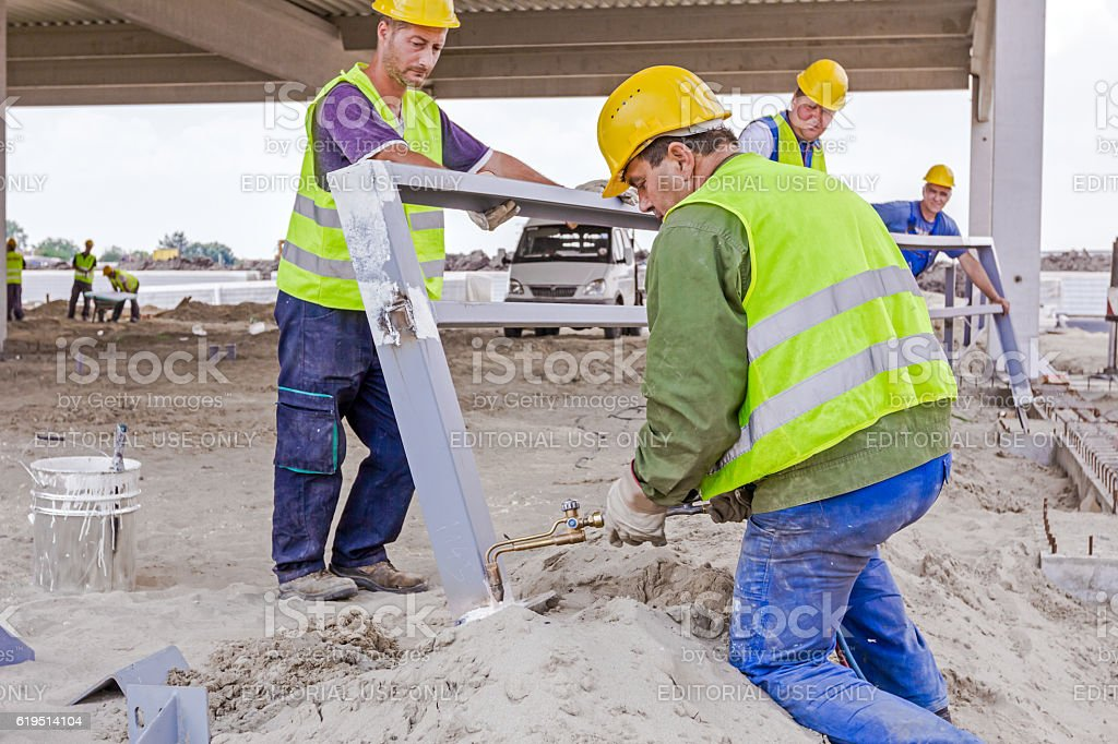 Metal gas cutting with acetylene torch. stock photo