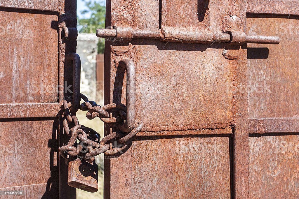 Metal gate closed royalty-free stock photo