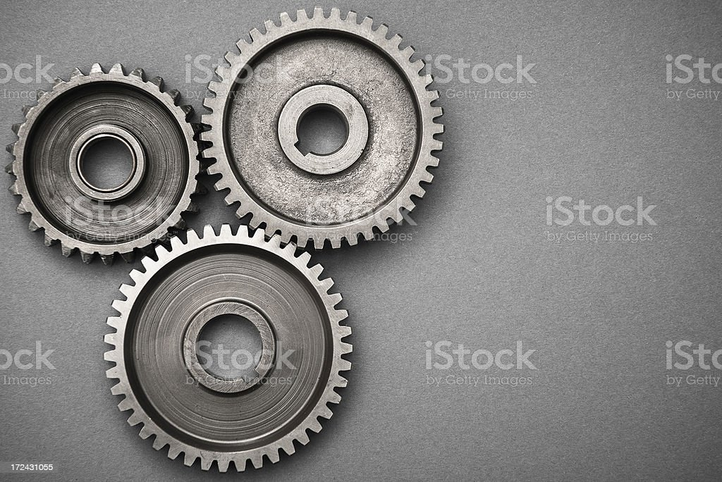 Metal Gear working like machine part stock photo