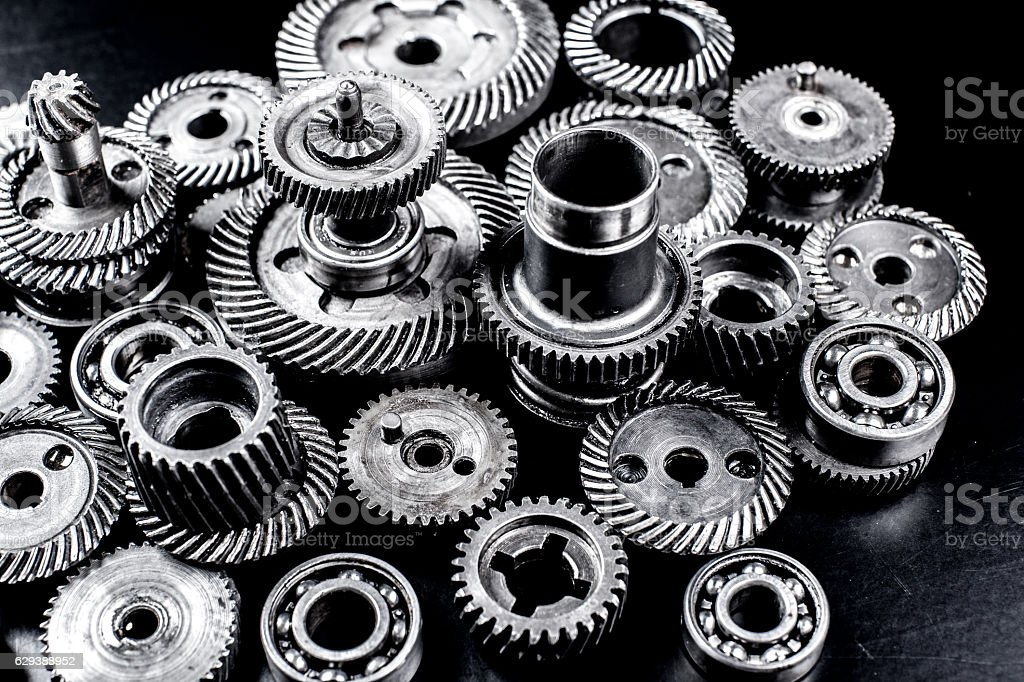 Metal gears on black background stock photo