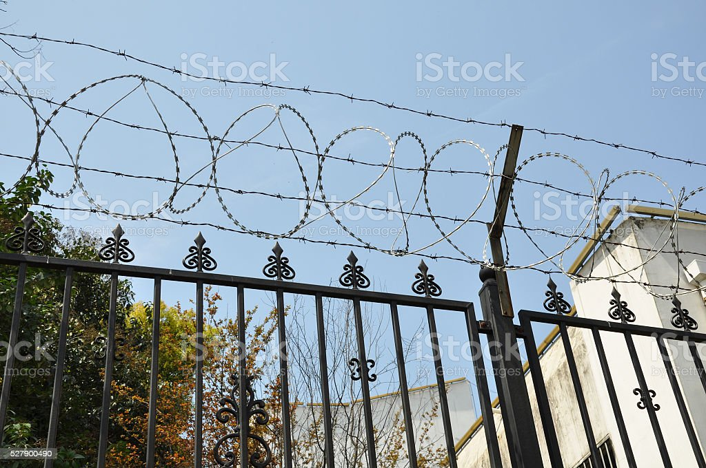 metal grid fence with barbed wire stock photo