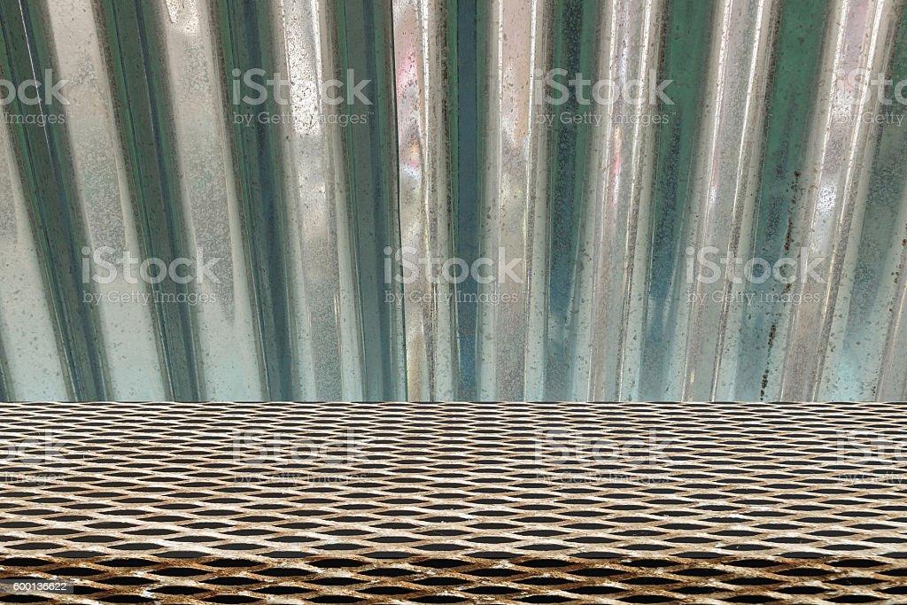 Metal grid seamless pattern on  zinc stock photo