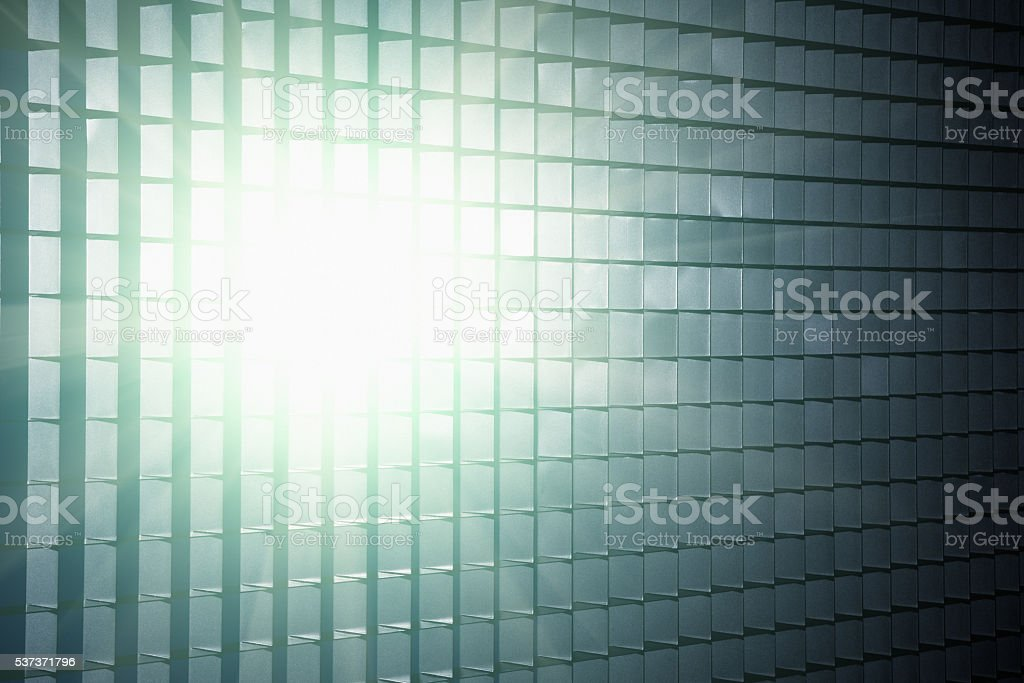Metal grid, sunlight, bright, reflected, background, copy space, texture, industrial, stock photo