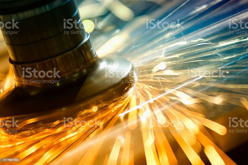Metal grinding technology stock photo