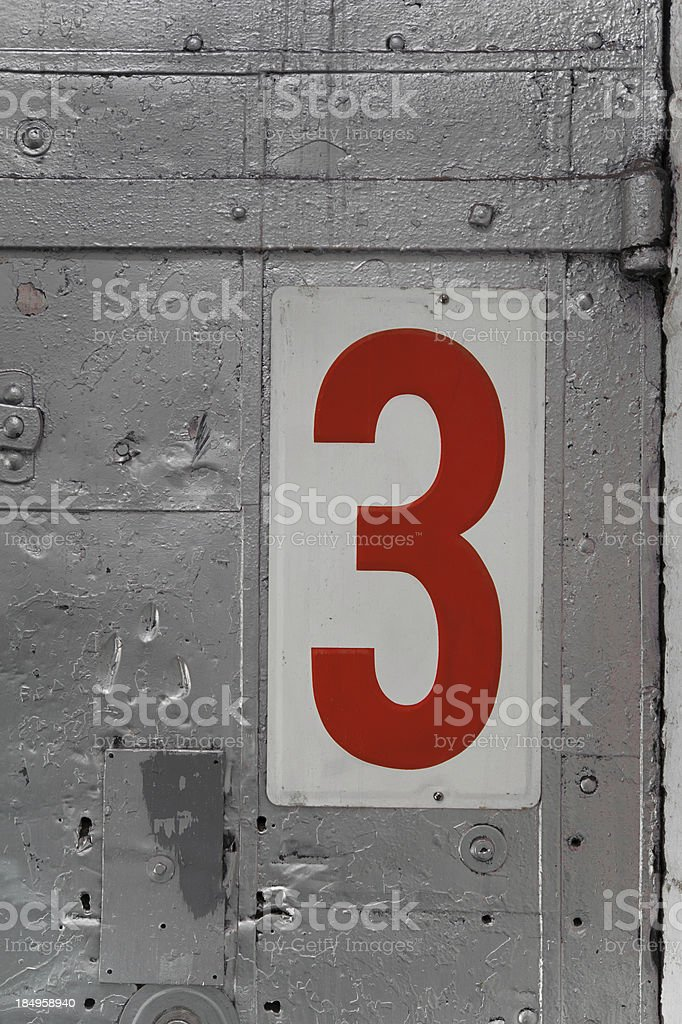Metal grunge number 3 royalty-free stock photo