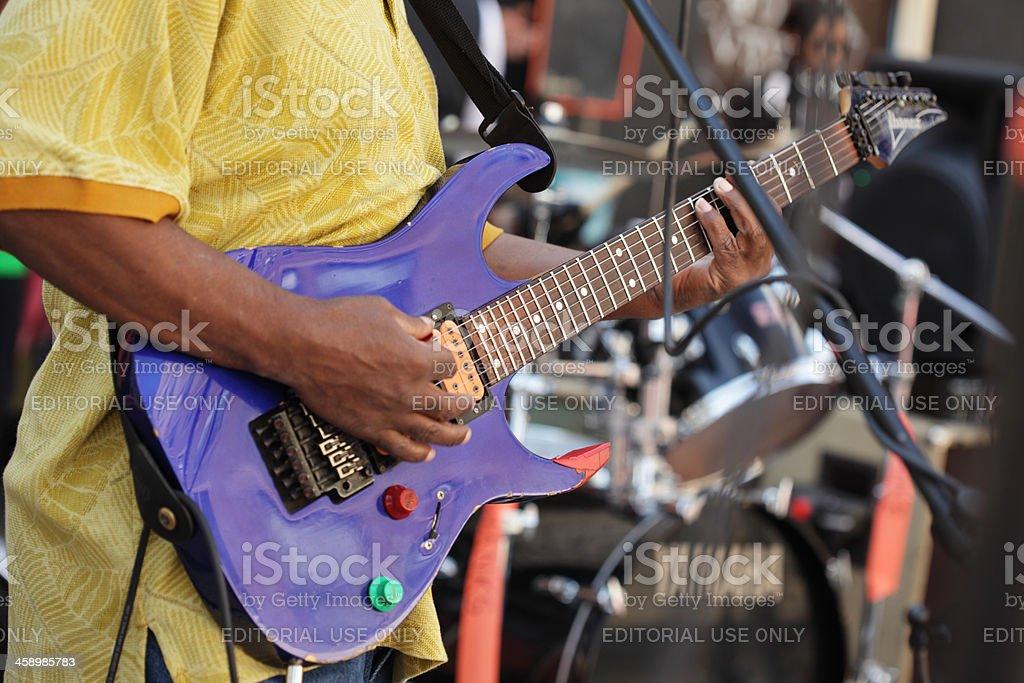 Metal guitarist plays Hank's Saloon in Brooklyn stock photo