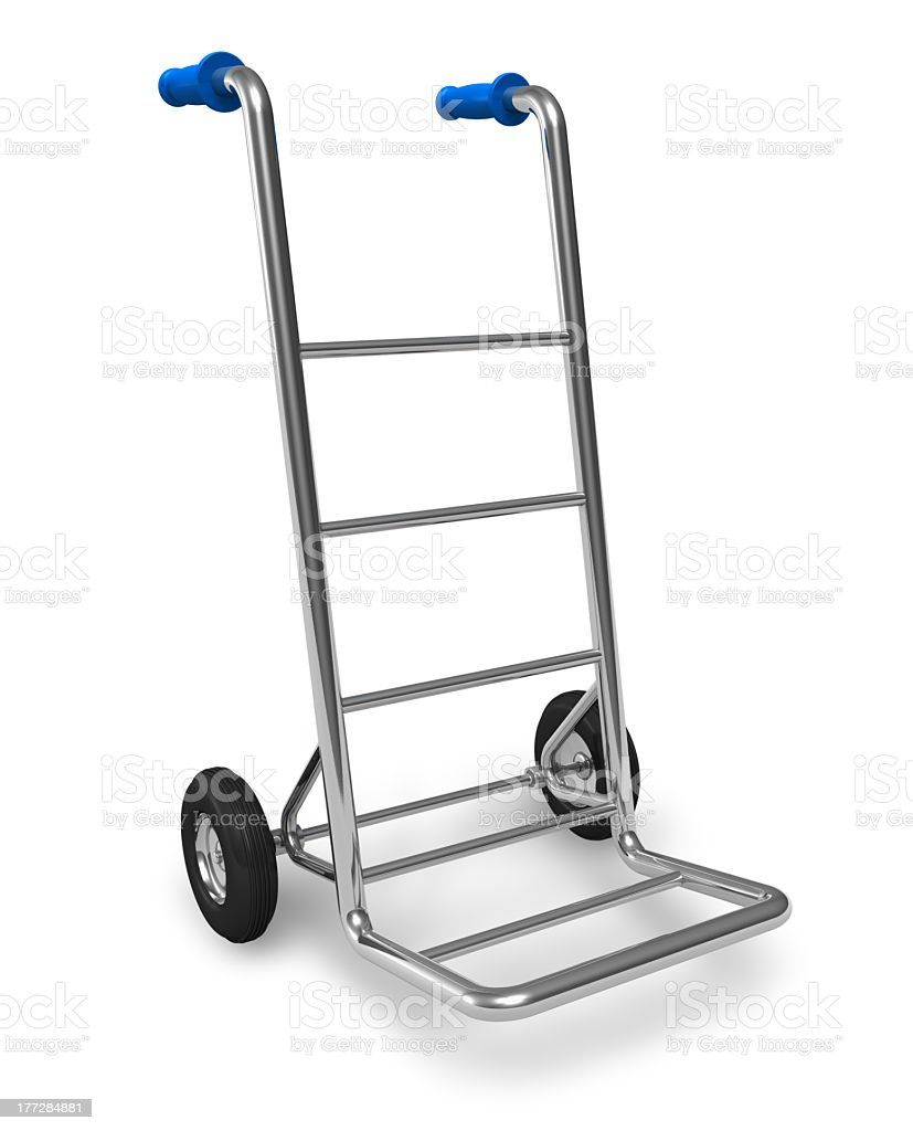 A metal hand truck on a white background  stock photo