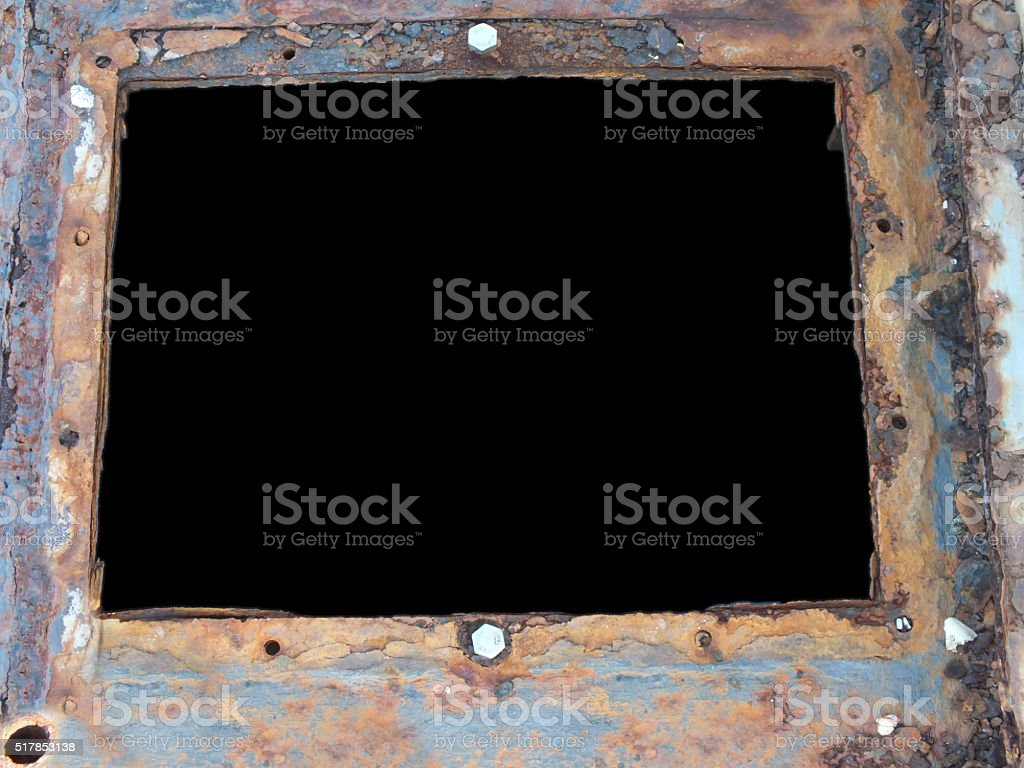 metal hatch with rust and screws stock photo