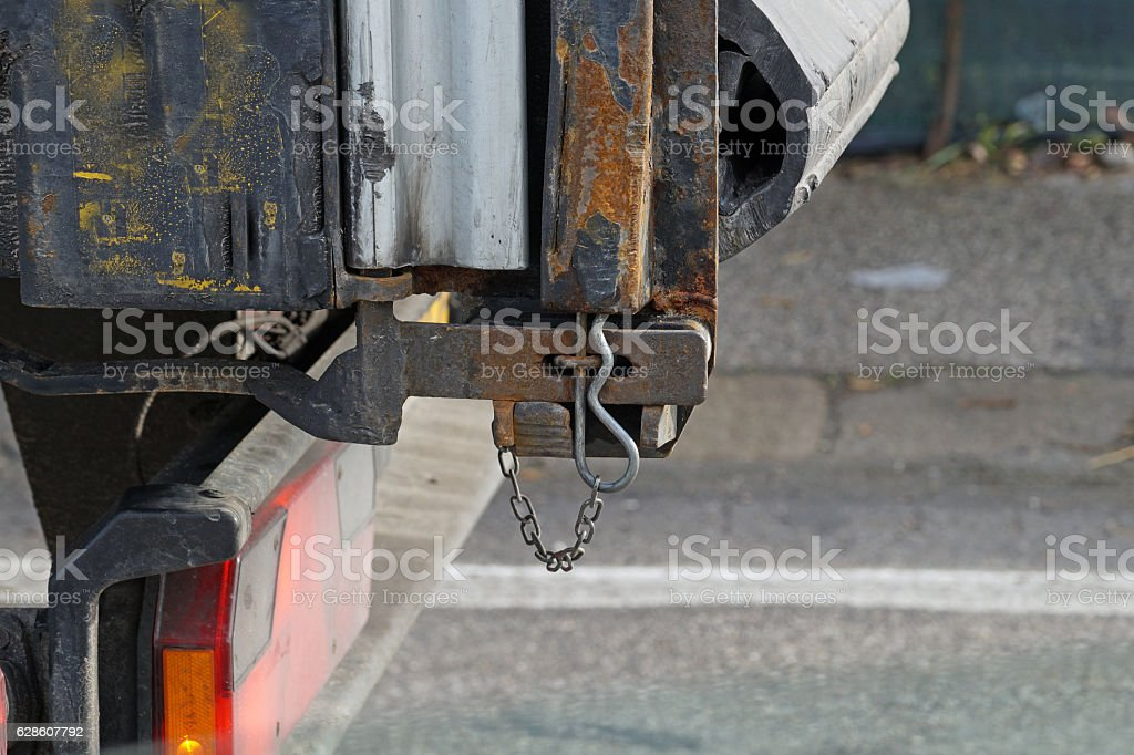 metal hook of a truck on the street stock photo