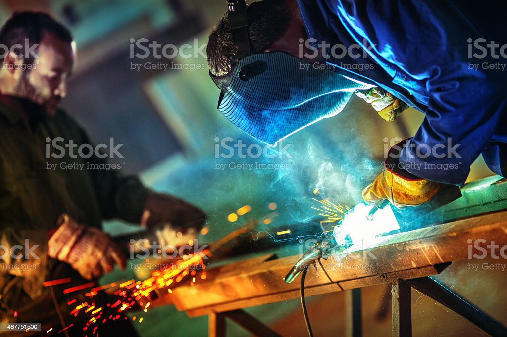 Metal industry routine. stock photo